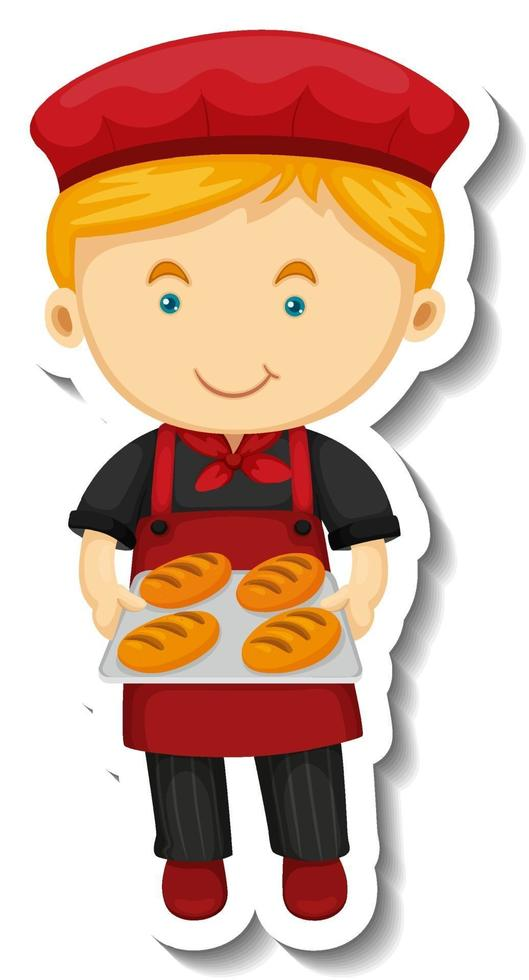 Sticker template with a baker boy holds baked tray isolated vector
