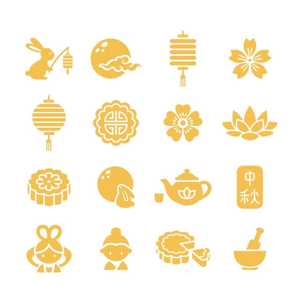 Mid Autumn Festival Icon Set vector