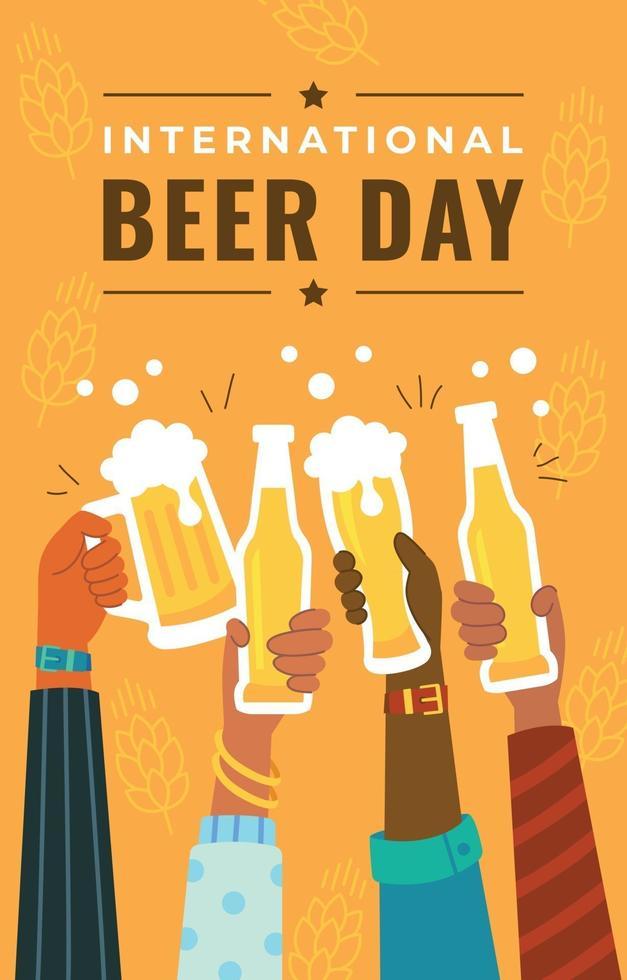 People Celebrating International Beer Day vector