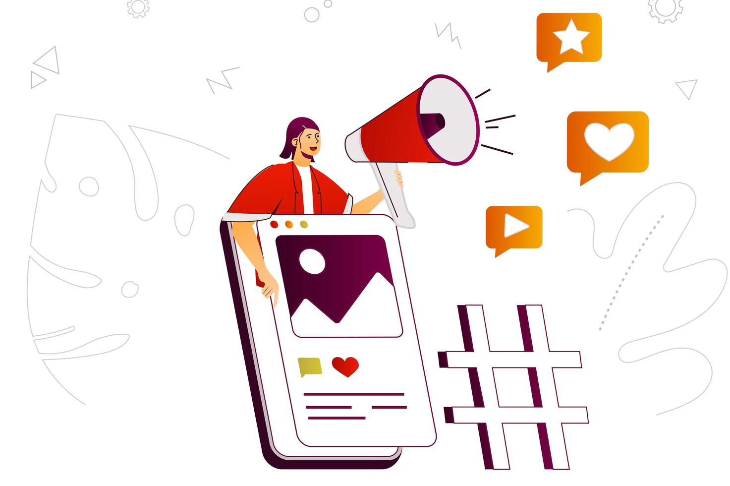 Mobile marketing web concept vector