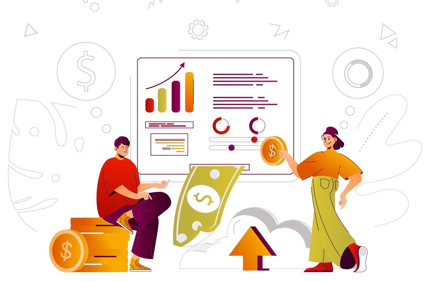 Virtual finance web concept vector