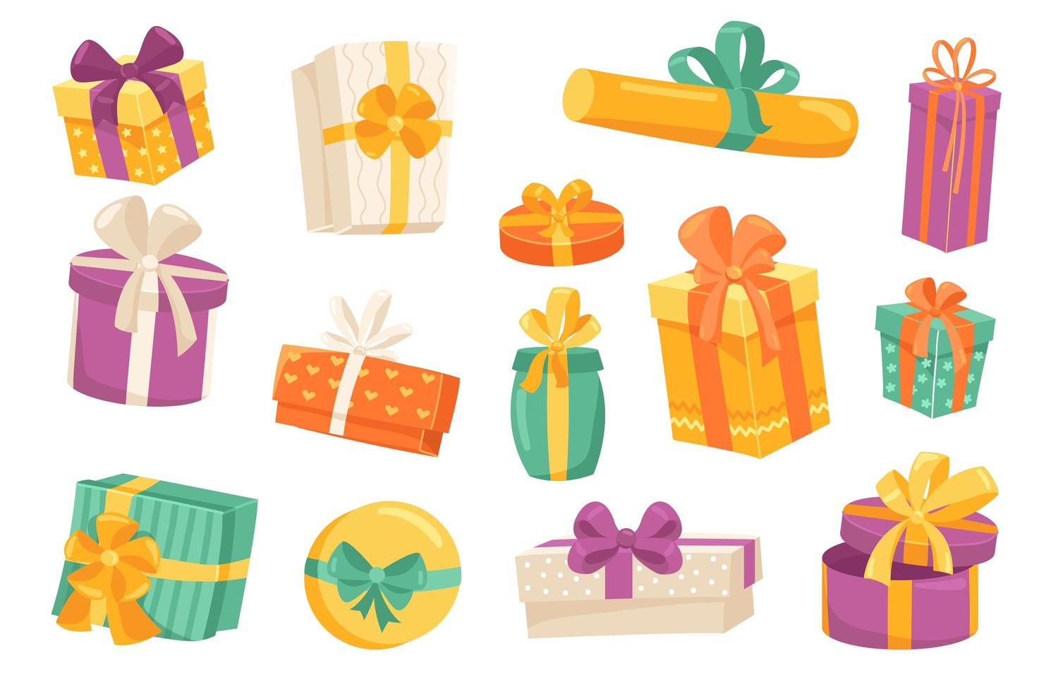 Gift boxes cute stickers isolated set vector