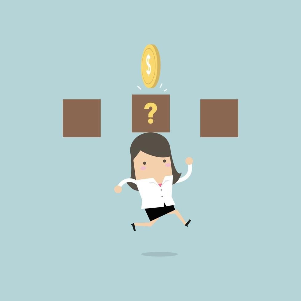 Businesswoman jump and hit a coin box. vector