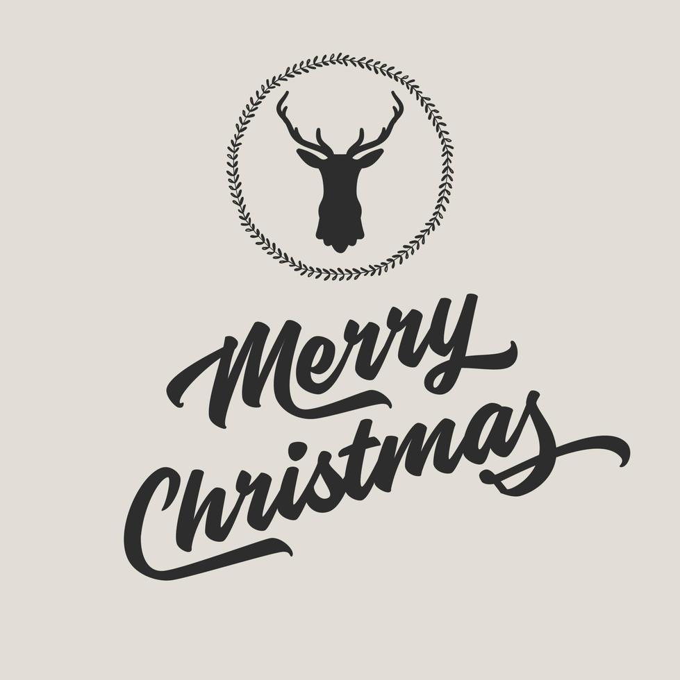 Merry Christmas and Happy New Year with silhouette of reindeer head. vector