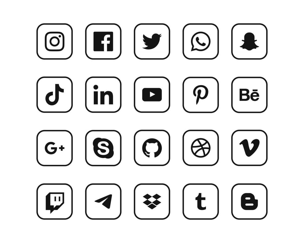Popular Social Media Icons Collection vector