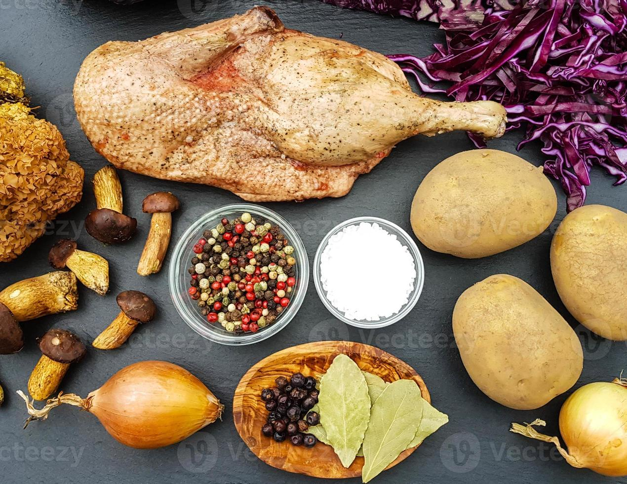 Baked Duck with red cabbage and forest mushrooms photo