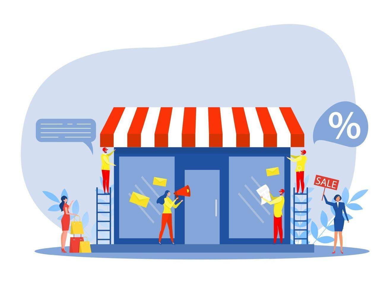 Franchise shop business, People shopping and Starting Small Franchise vector