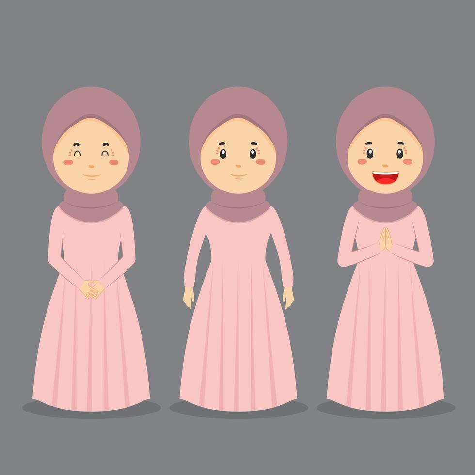 Muslim Casual Character with Various Expression vector