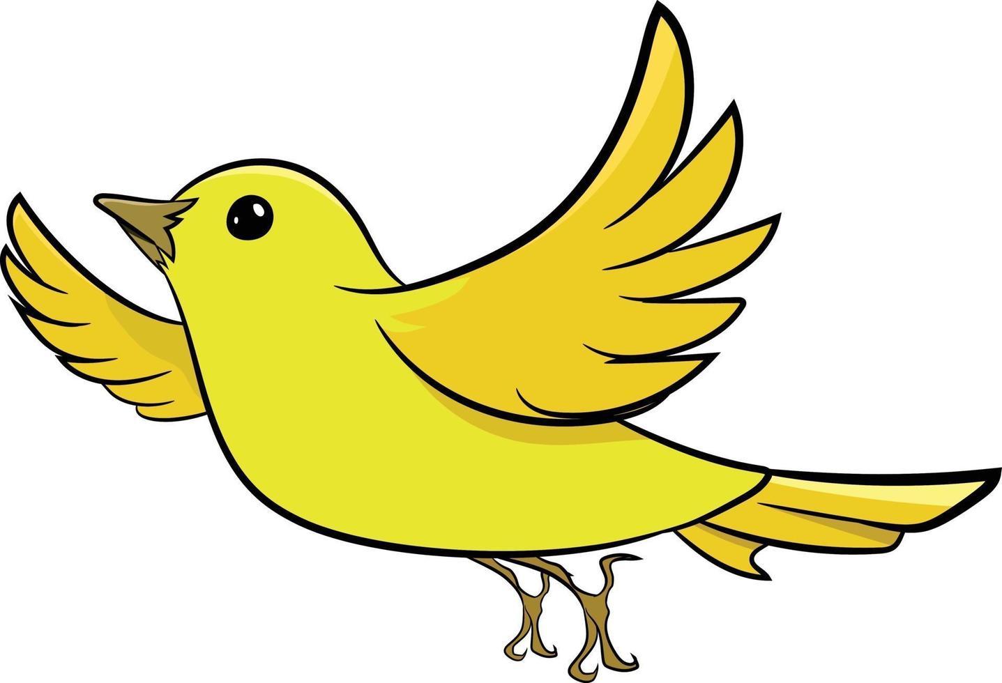 pájaro gorrión amarillo volando en el cielo vector