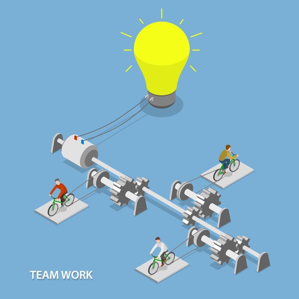 Team work flat isometric vector concept.
