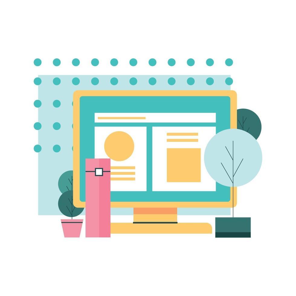 Flat Style internet Business Small Scene Illustration vector