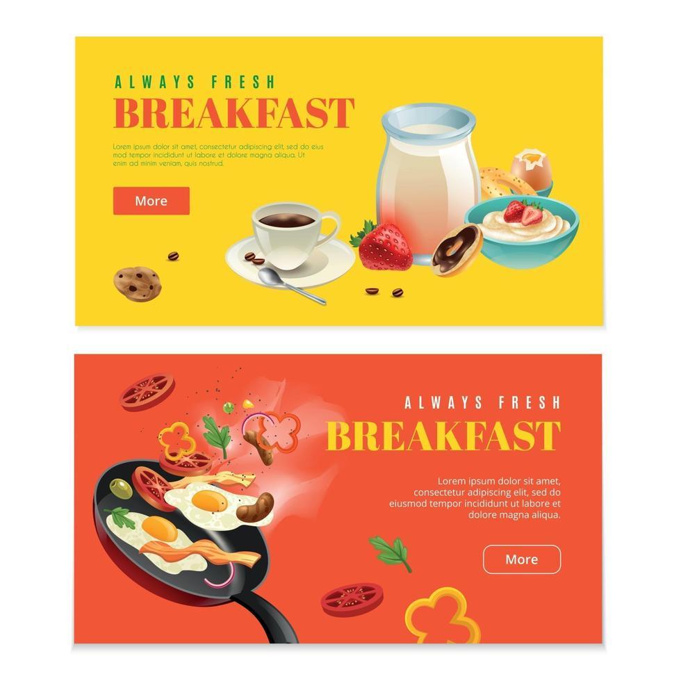 Breakfast Two Horizontal Banners Vector Illustration