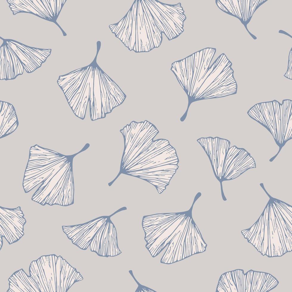 Vector colorful ginkgo tree leaf illustration motif seamless pattern