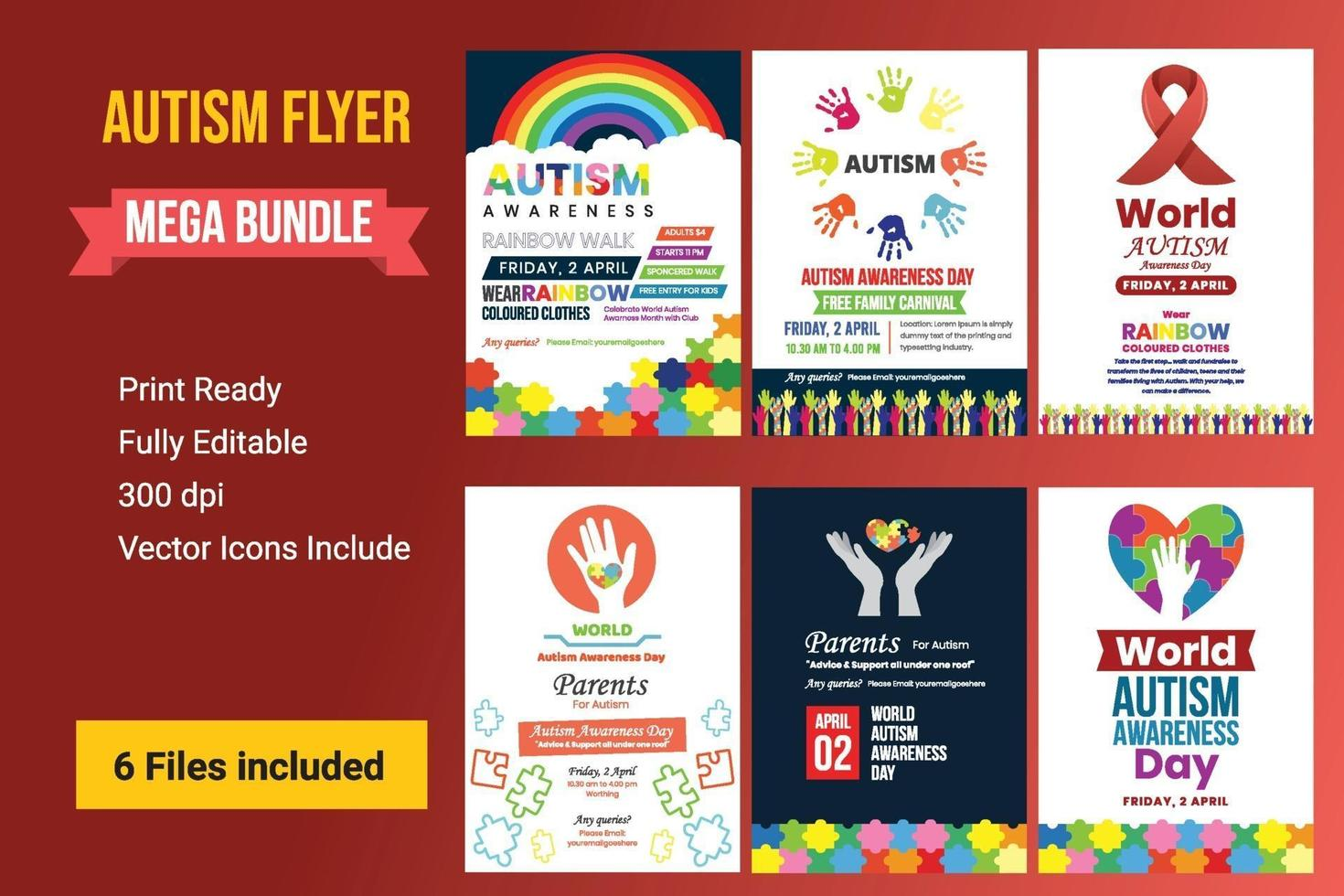 Creative Poster Set Or Banner Set Of World Autism Awareness Day. vector