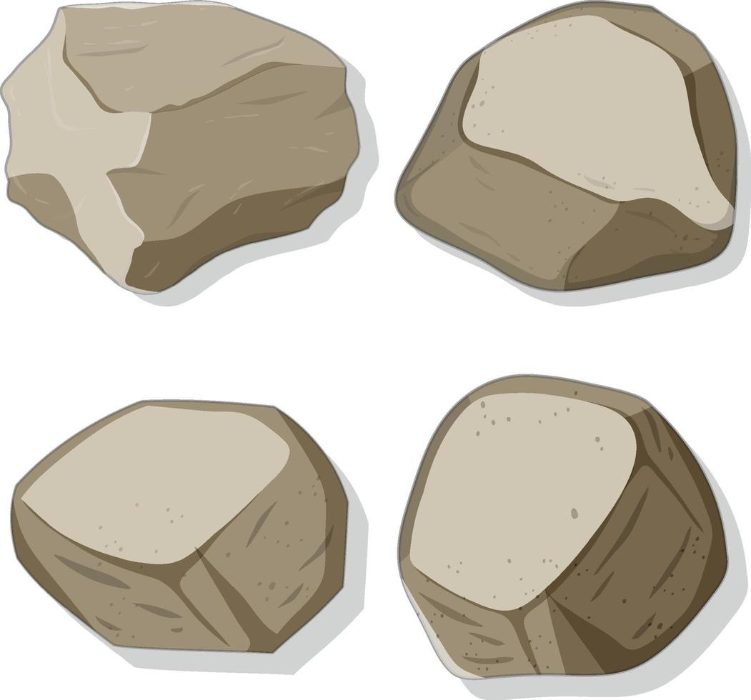 Set of different stones shapes isolated on white background vector