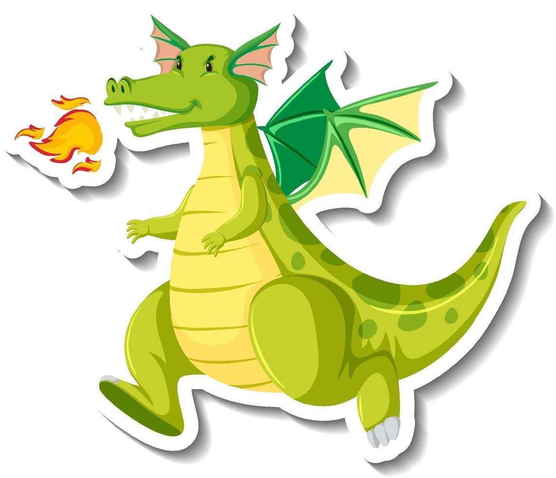 Cute green dragon cartoon character sticker vector