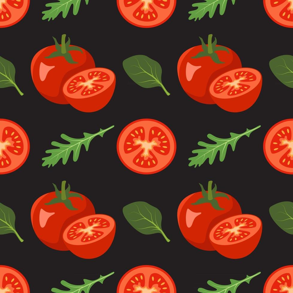 Seamless pattern with tomatoes and leaves of spinach, arugula vector