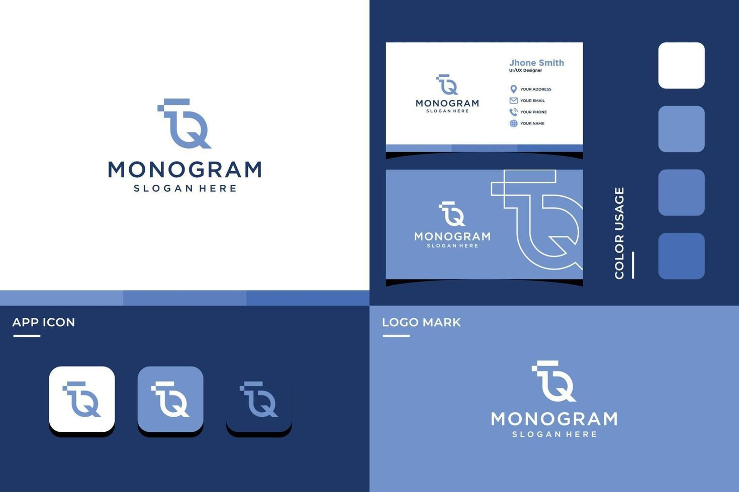 letter T and Q monogram logo vector