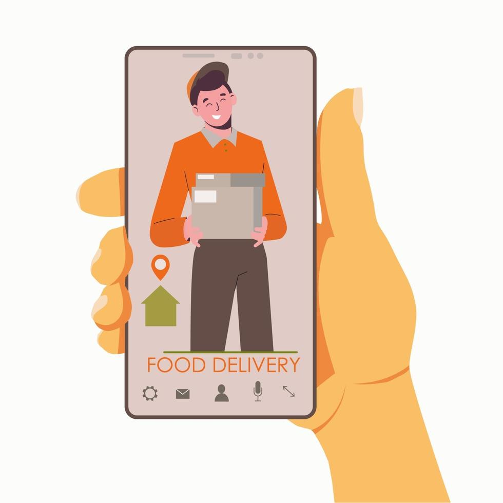 Food delivery home. Online food ordering at your address. Flat vector