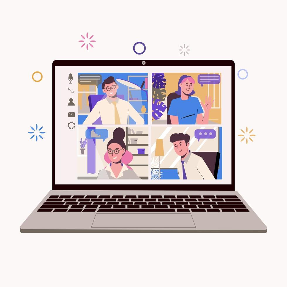 Work at home, freelance, remote work as a team. Online chatting vector