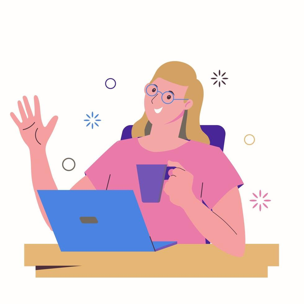 Girl freelancer works at a laptop and drinks from a mug. Work at home vector