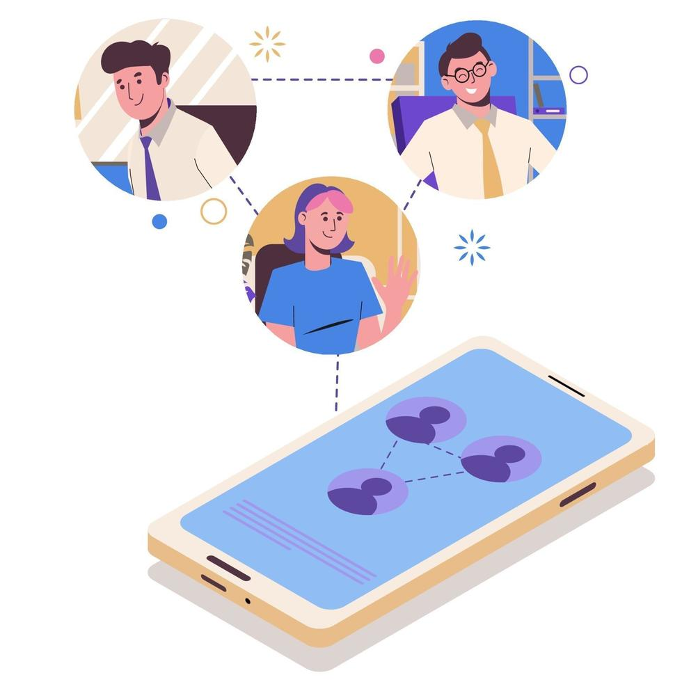 Online communication on a smartphone by a group of people vector