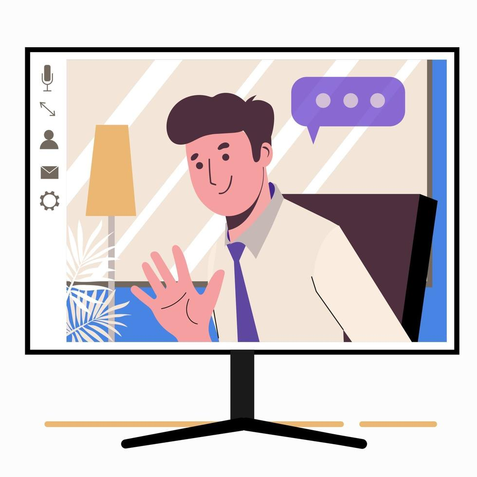 Chatting online. Man on the monitor screen. Work at home, vector