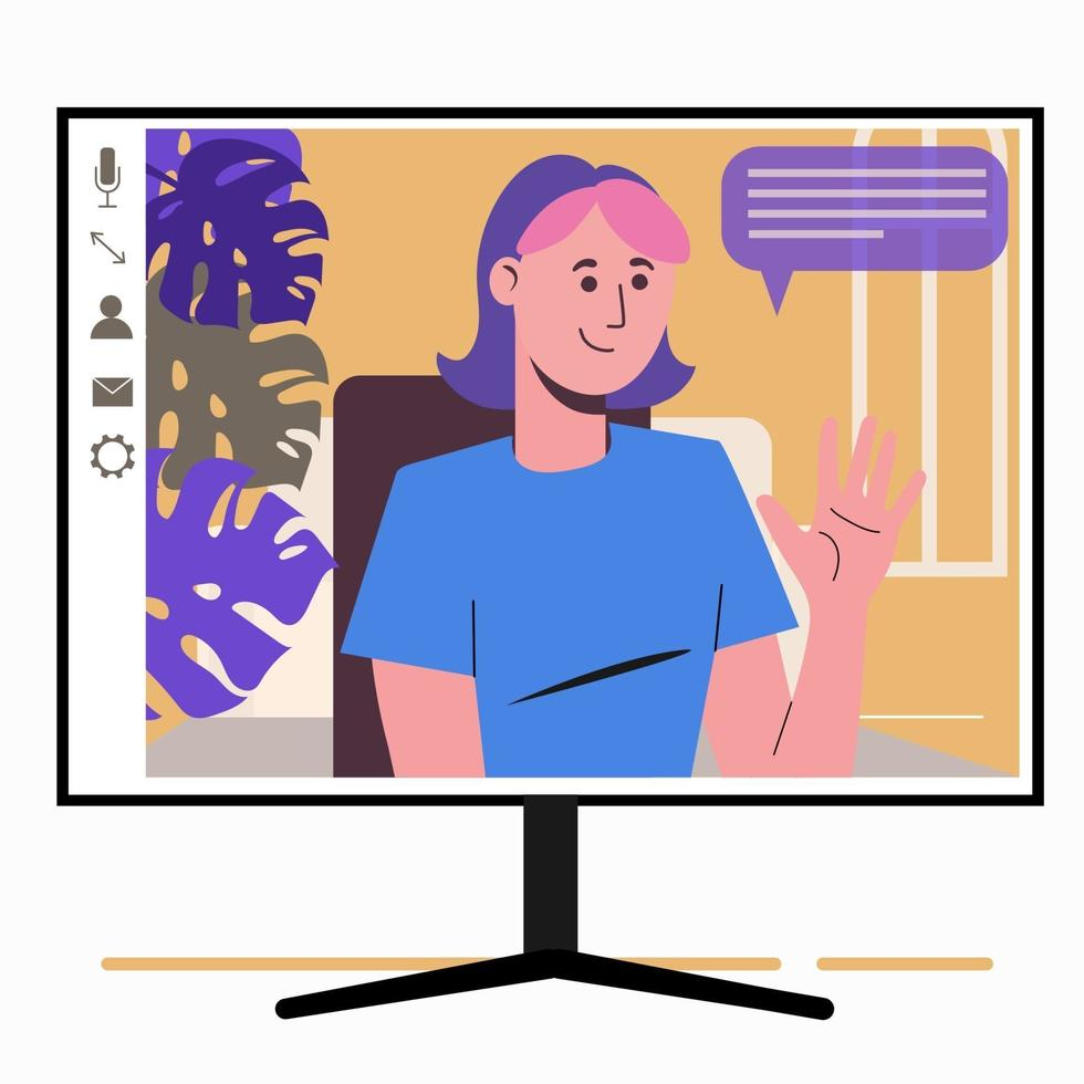 Chatting online. Girl on the monitor screen. Work at home, vector