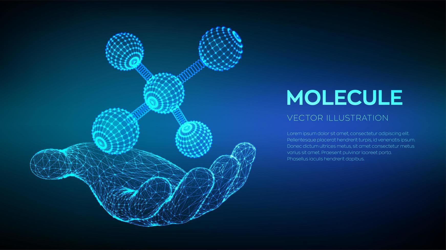 Molecule in hand. Dna, atom, neurons. vector