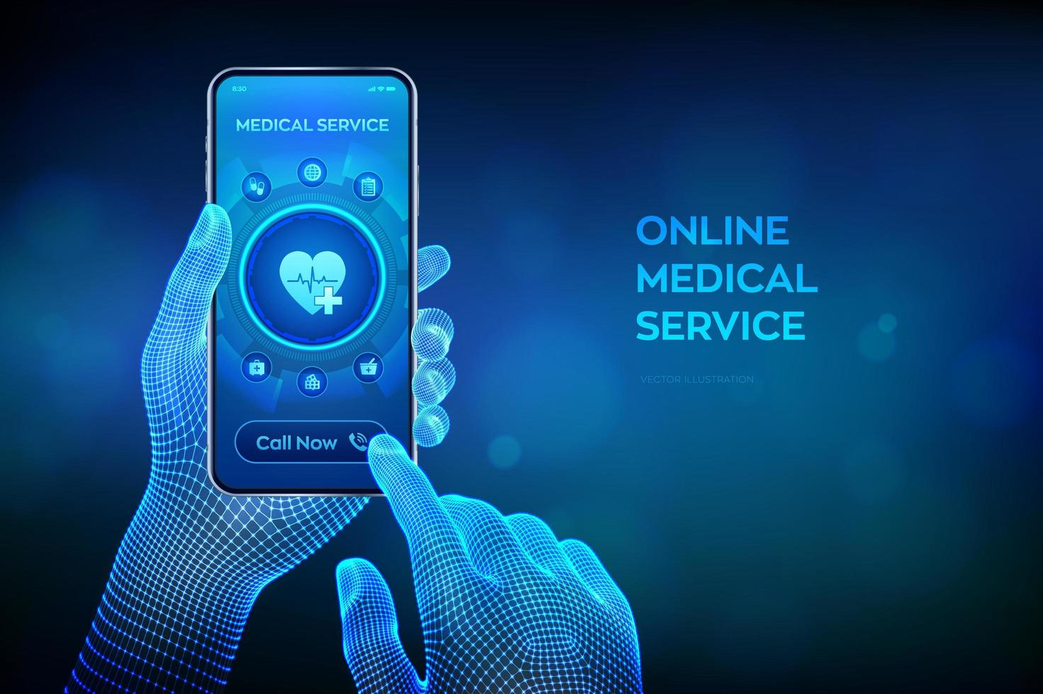 Online medical services, consultation and support concept vector
