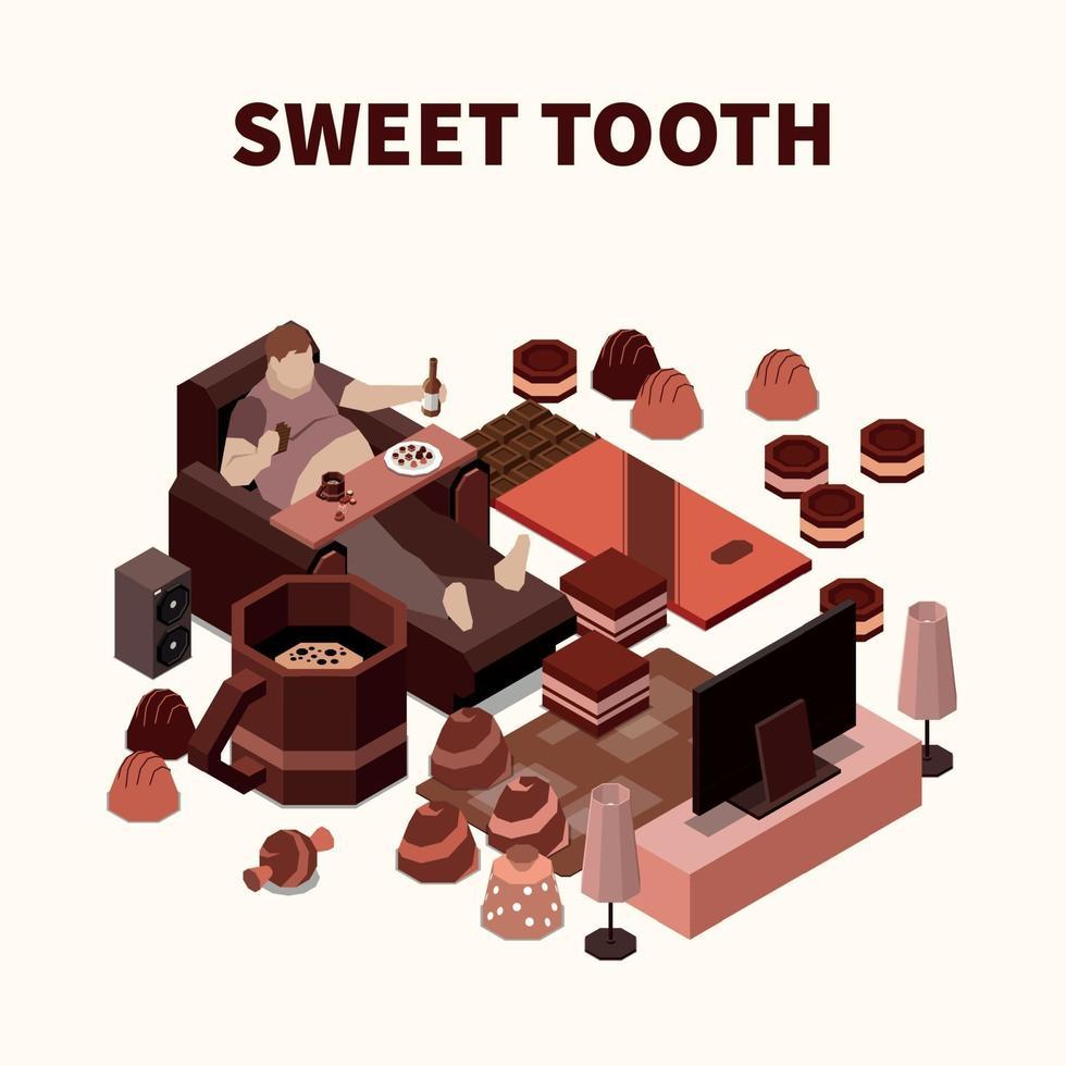 Sweet Tooth Isomeric Illustration Vector Illustration