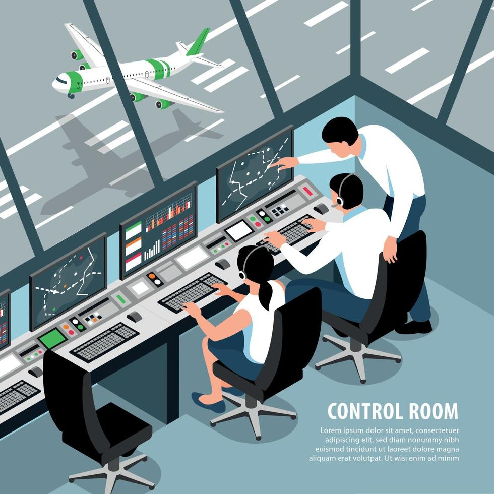 Air Control Room Background Vector Illustration