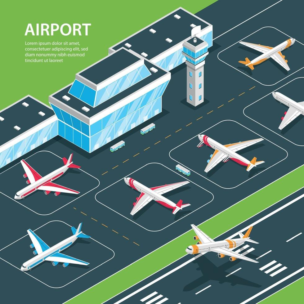 Airport Isometric Background Composition Vector Illustration