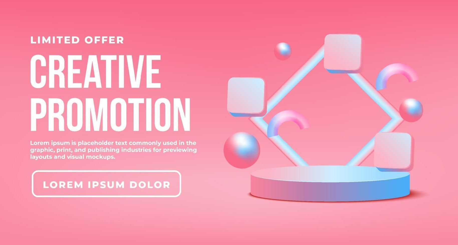 Colorful geometric background promotion with podium vector