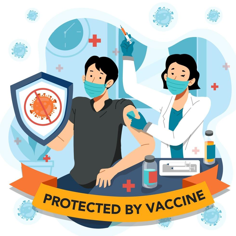 Proud Man Get Protected After Vaccine vector