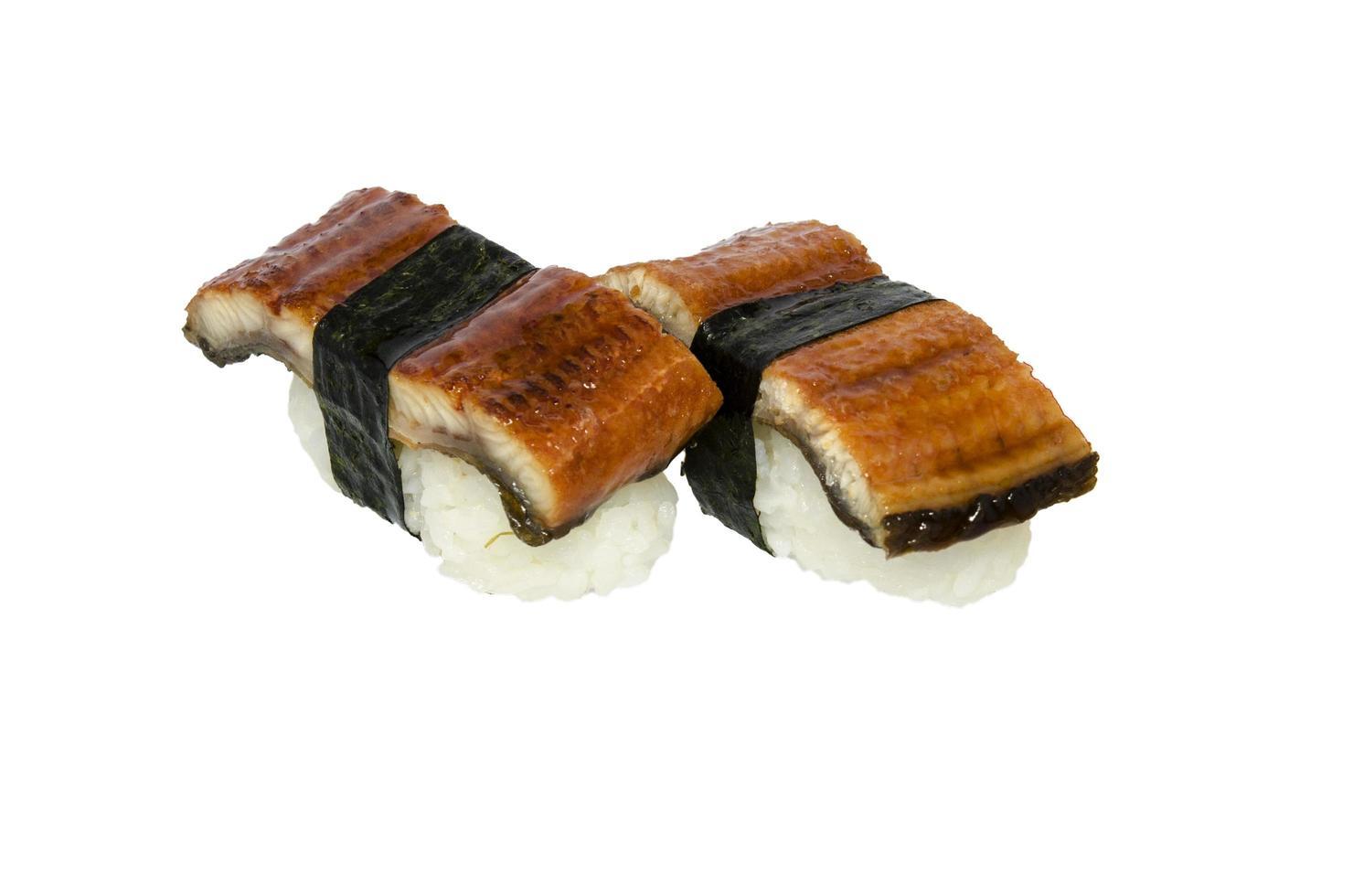 Unagi sushi white background photo