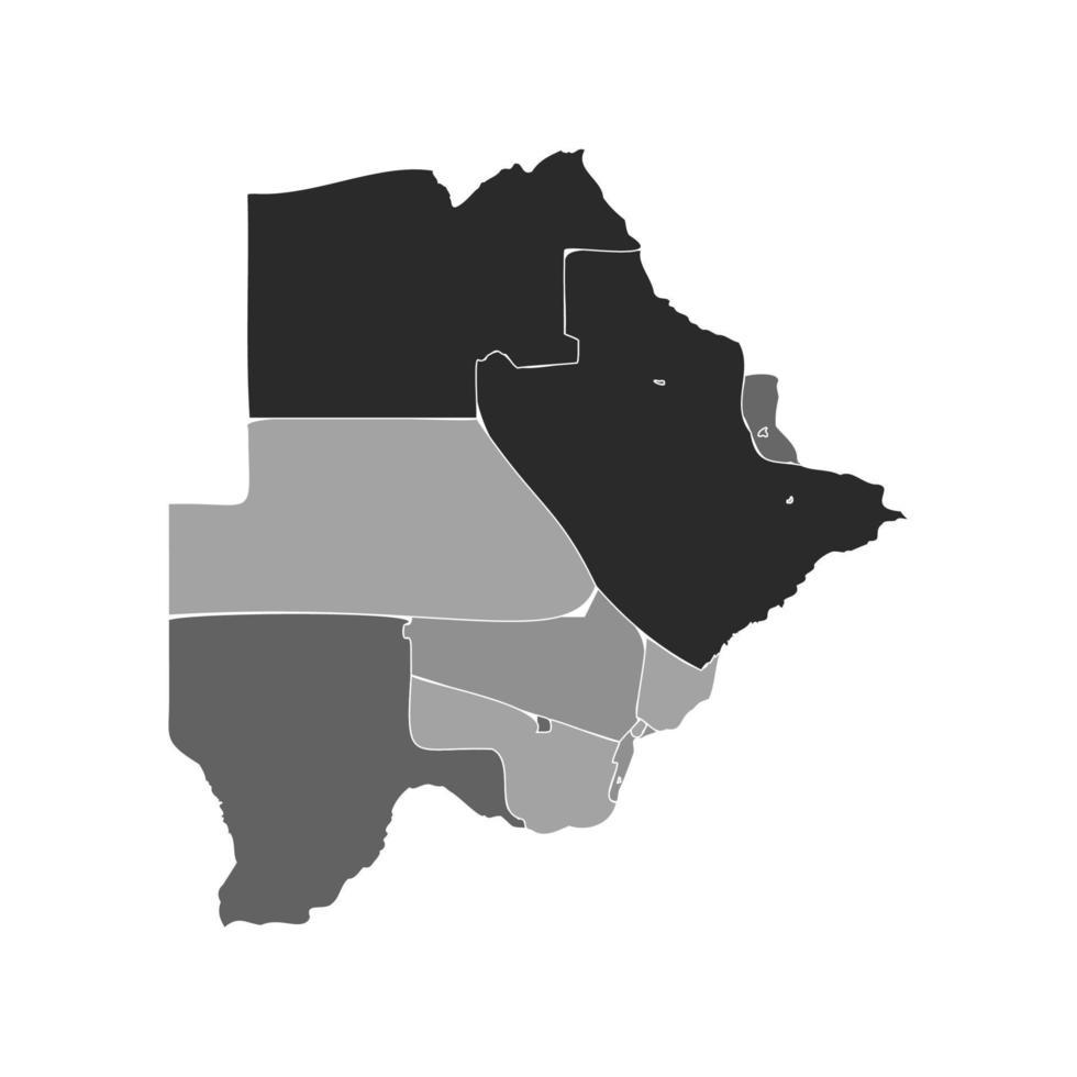 Gray Divided Map of Botswana vector
