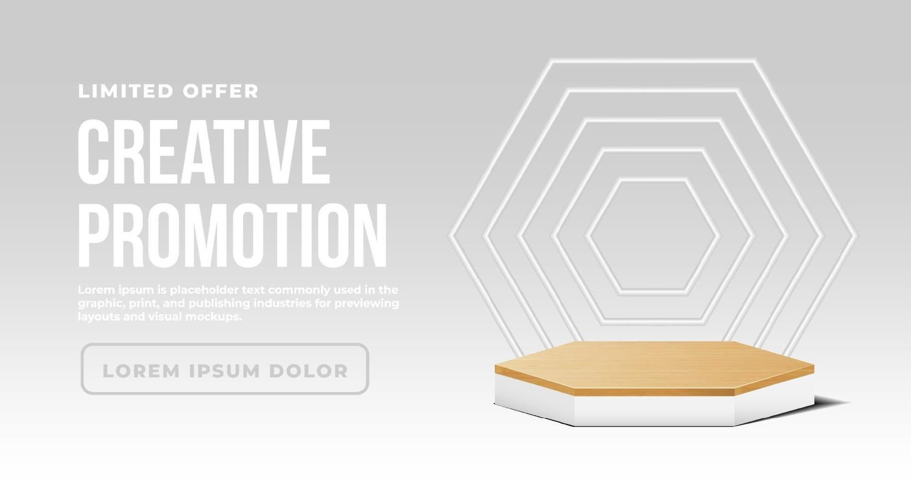Minimalist banner with wooden podium white vector