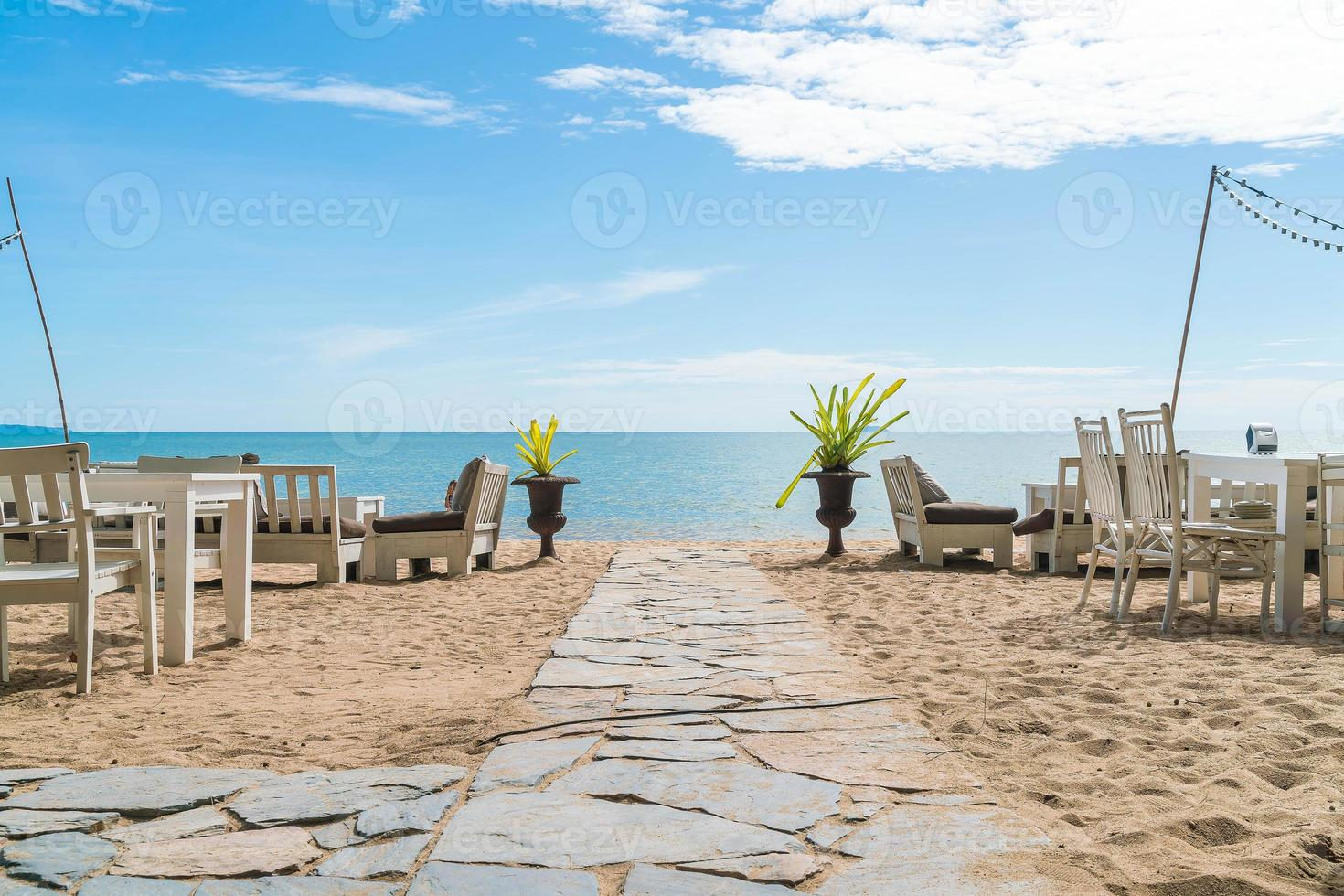 Walkway with sky and sea background photo