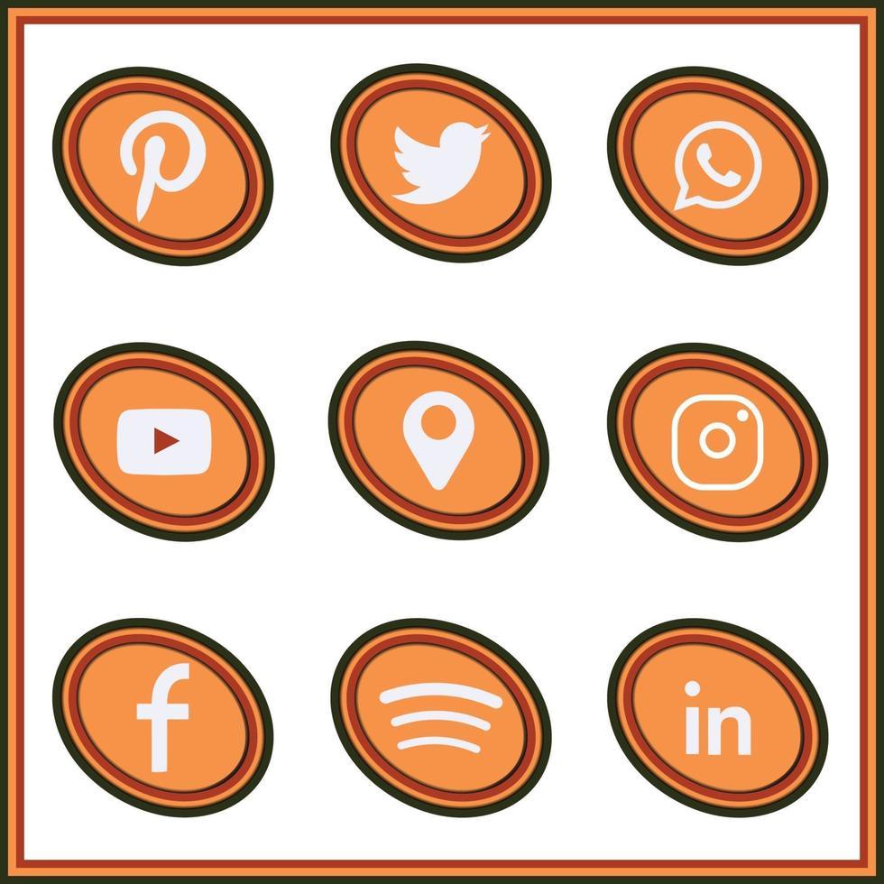 social media icons rasta colored in oval shape vector