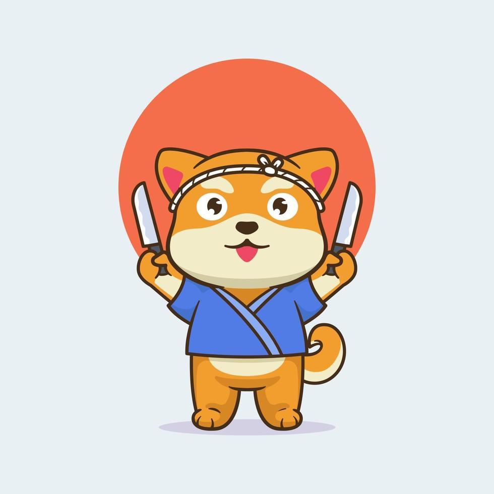 Cute shiba dog shushi master design vector