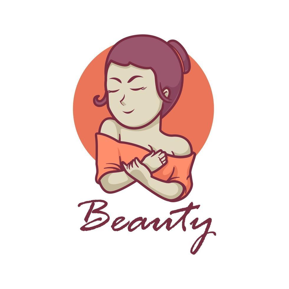 Girl beauty mascot logo design vector