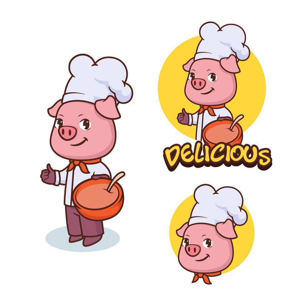 Pig chef mascot, logo concept design vector