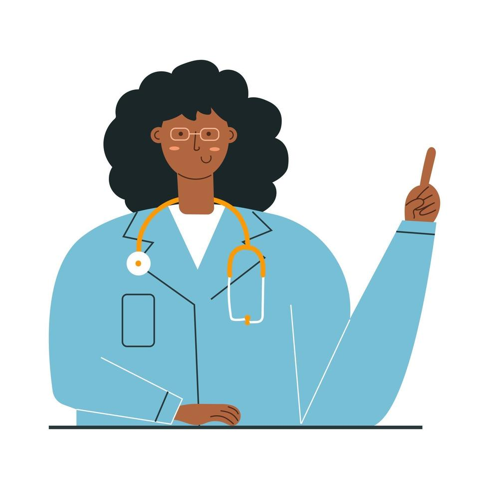 Portrait of smiling female african american doctor with stethoscope vector
