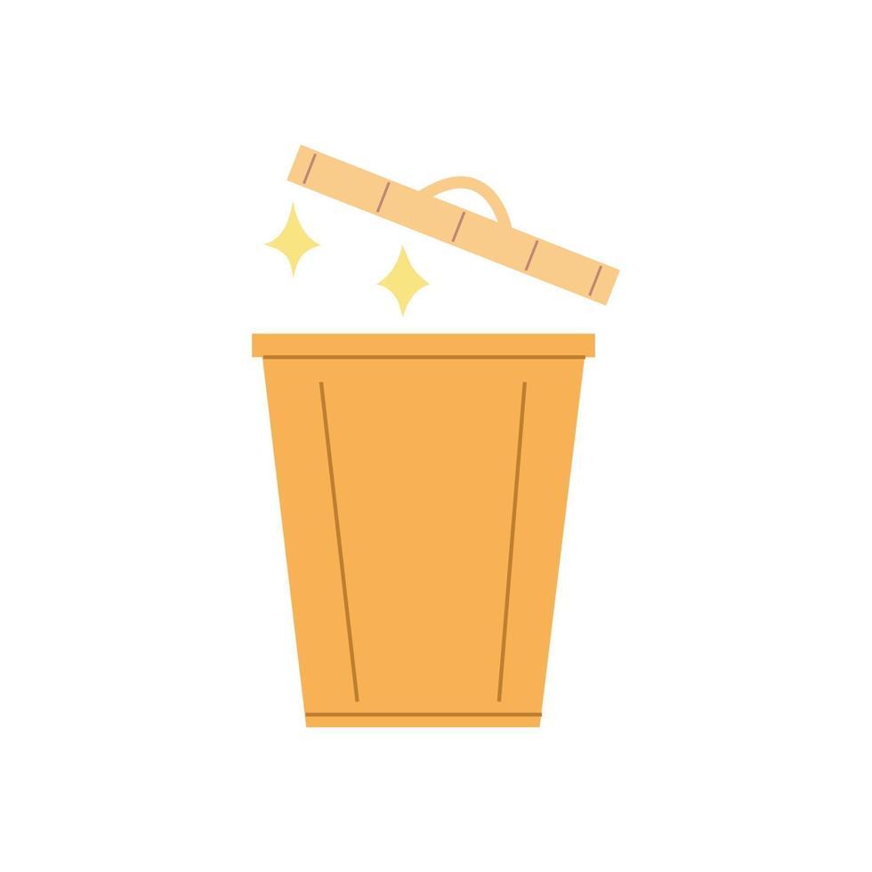 Waste basket, open trash can, bin in flat design. vector