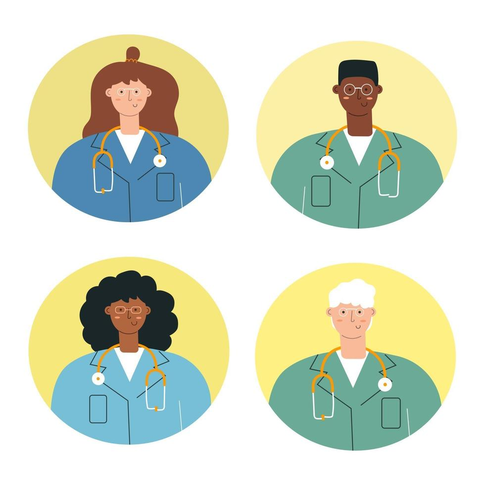 Set of male and female medical staff, doctors, avatars. vector