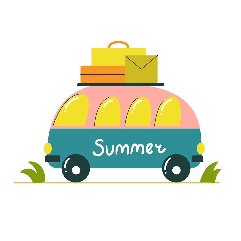 Cute family bus with luggage on the roof and the inscription summer vector