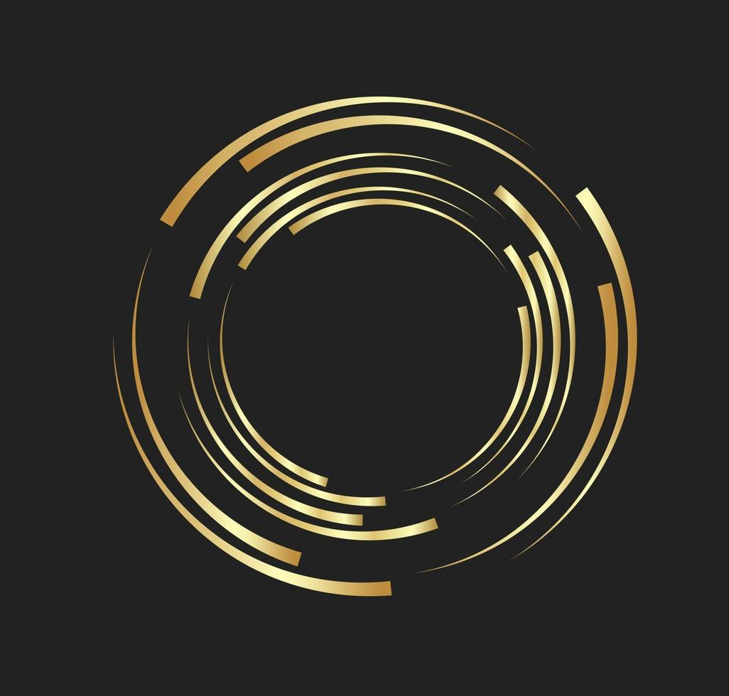 Abstract golden lines in circle form, Design element logo luxury vector