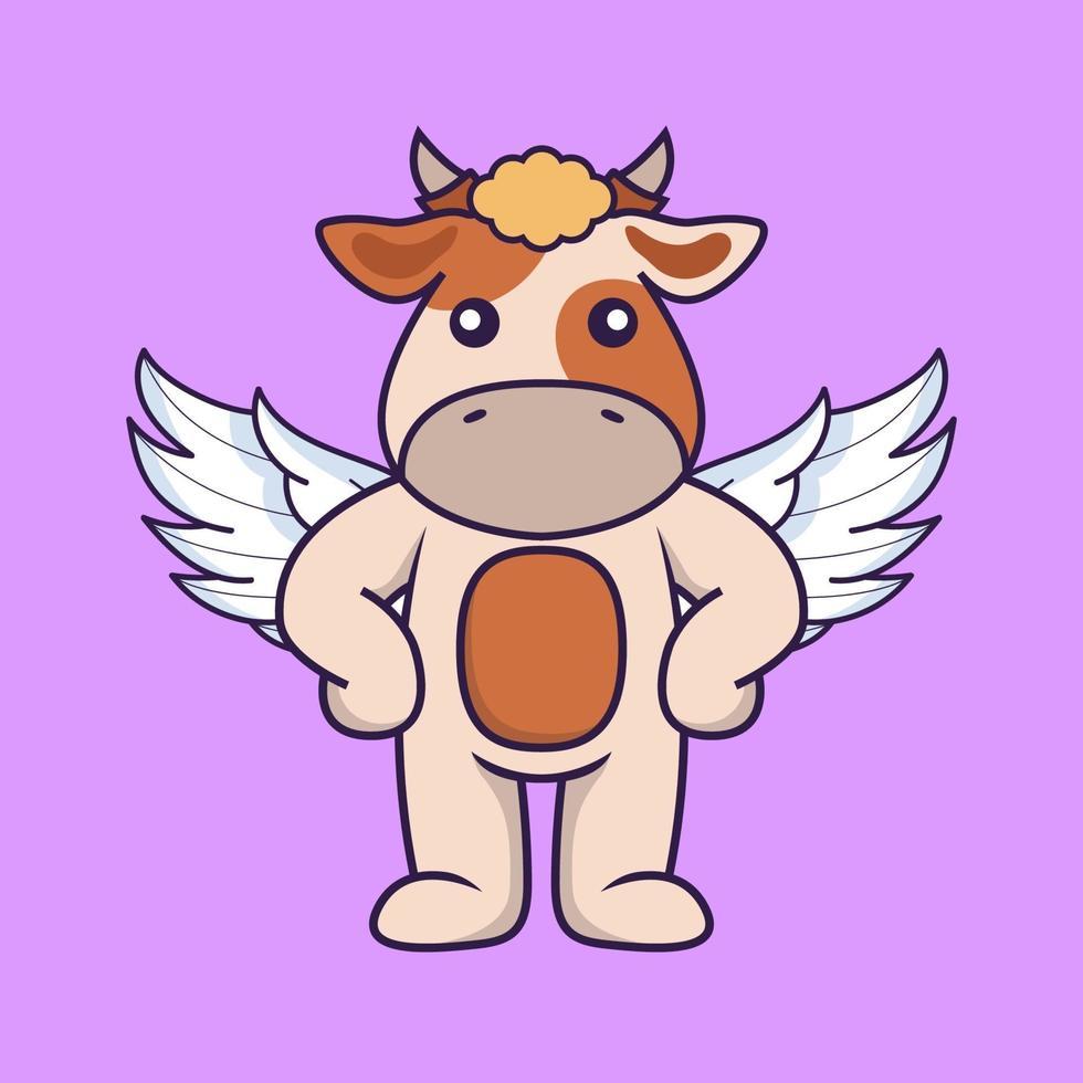 Cute cow using wings. vector