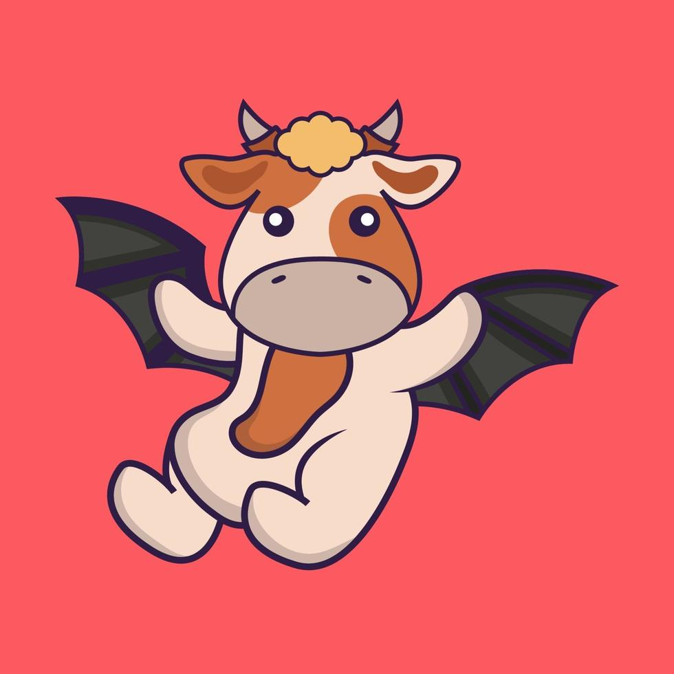 Cute cow is flying with wings. vector